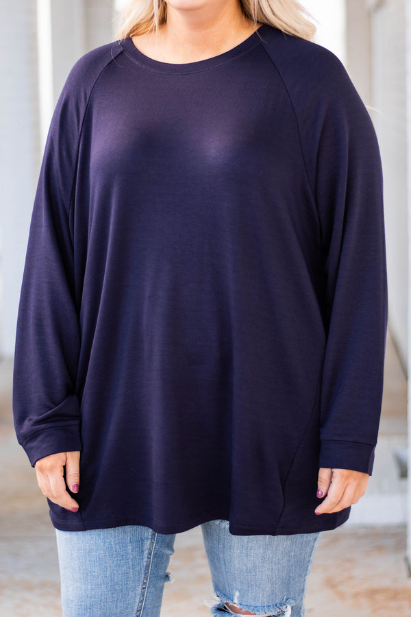 tunic, long sleeve, scoop neck, navy, solid, comfy, loose, fleece