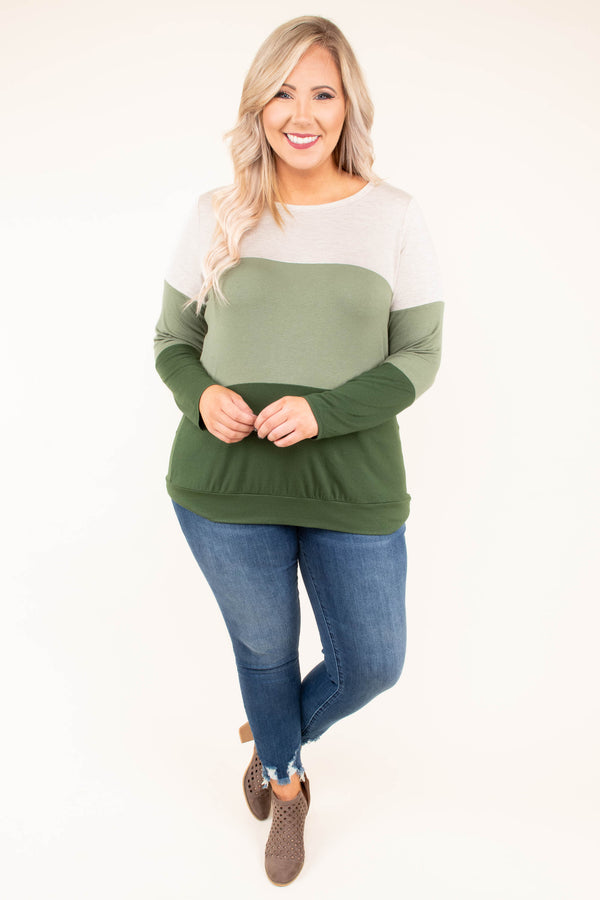 top, tan, olive, green, color block, comfy, cozy, long sleeve, fall, winter, thanksgiving, holidays