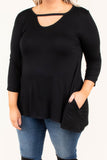 shirt, three quarter sleeve, pockets, scoop neck cutout, flowy, black, comfy