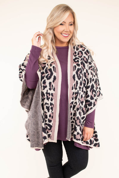top, poncho, leopard, cream, charcoal, purple, flowy, three quarter sleeve