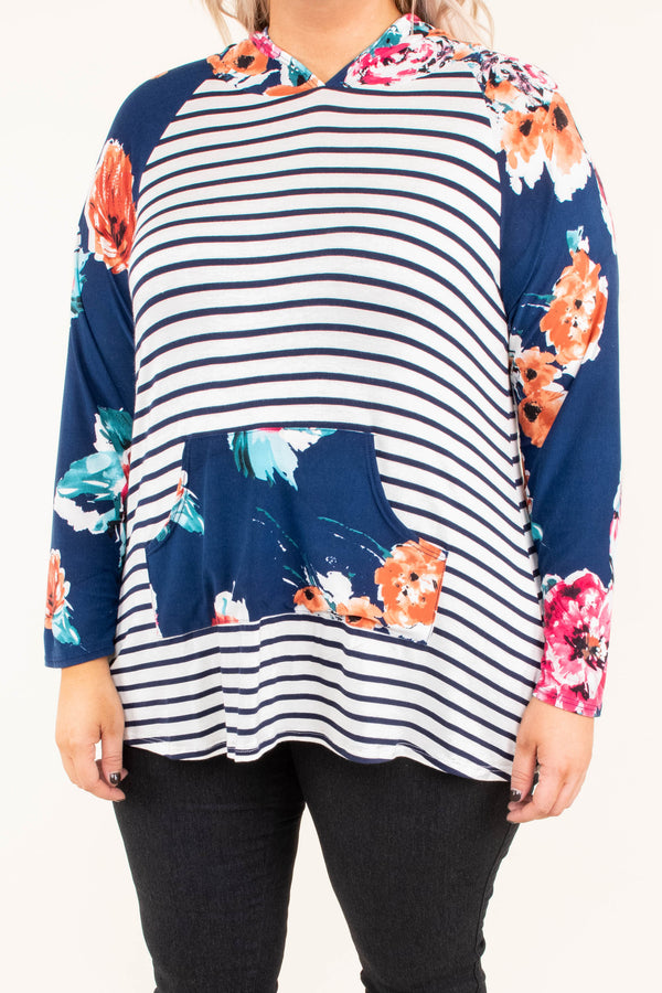 hoodie, long sleeve, hood, front pocket, curved hem, short, navy, white, striped, floral sleeves, floral hood, floral pocket, red, orange, comfy, outerwear