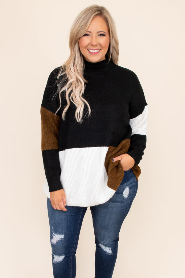 High neck, color block, neutral, black, white, top, sweater, oversized, comfy