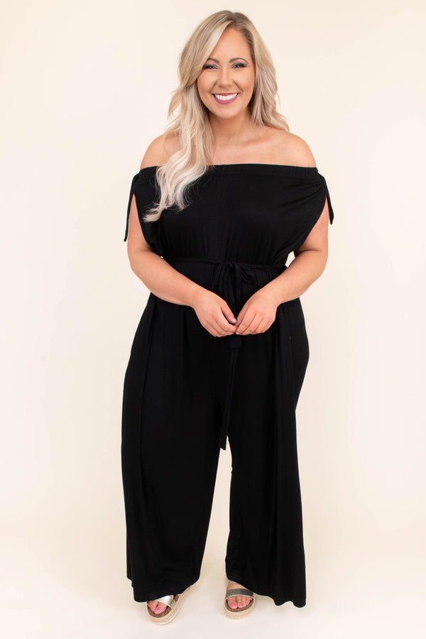 jumpsuit, short sleeve, long pants, off the shoulder, tie sleeves, tie waist, pockets, wide leg, black, comfy