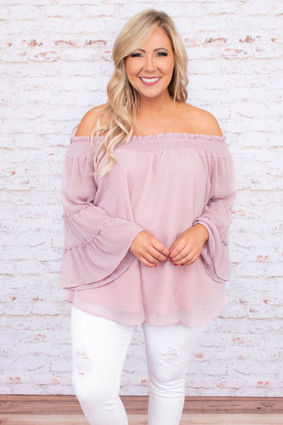 shirt, long sleeve, off the shoulder, bell sleeves, ruffle details, cinched neckline, flowy, mauve, comfy