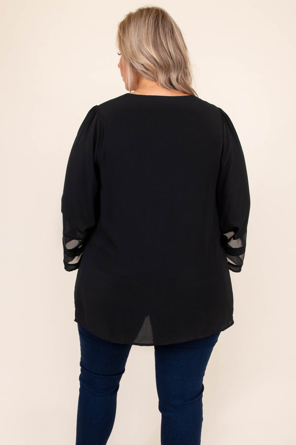 top, shirt, blouse, black, mesh, three quarter, flowy