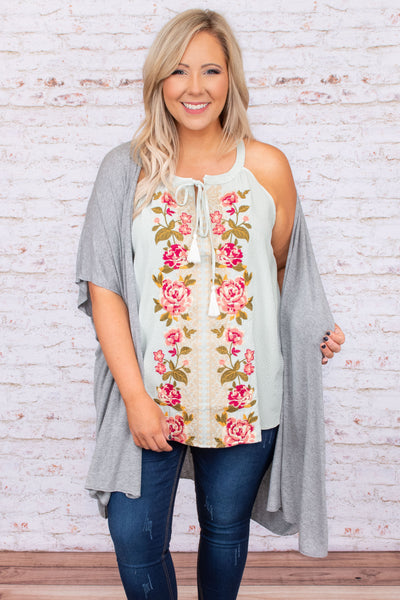top, casual top, green, embroidered, tank, floral, mint