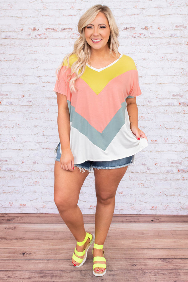 shirt, short sleeve, vneck, long, side slits, loose, chevron, white, blue, peach, yellow, comfy