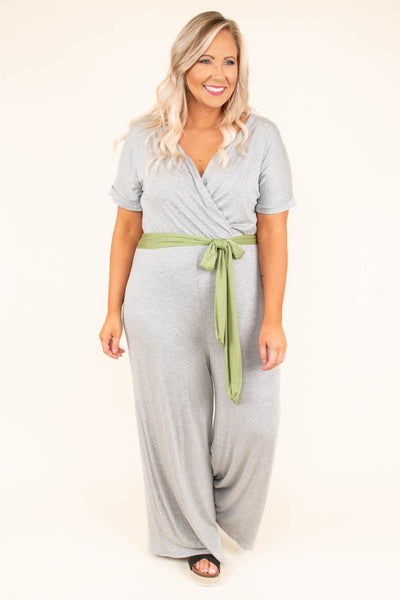 jumpsuit, long pants, wide leg, short sleeve, vneck, wrap top, belted waist, green belt, gray, comfy
