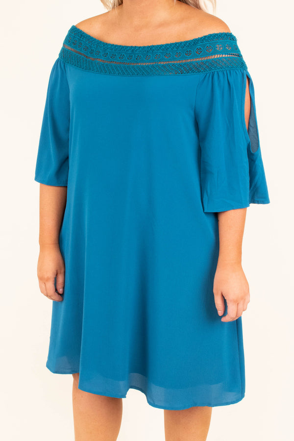 dress, three quarter sleeve, teal, off the shoulder, crochet detail, flowy