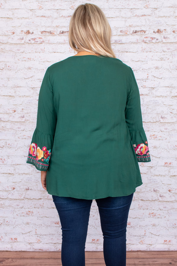 top, casual top, green, embroidered, three quarter, floral