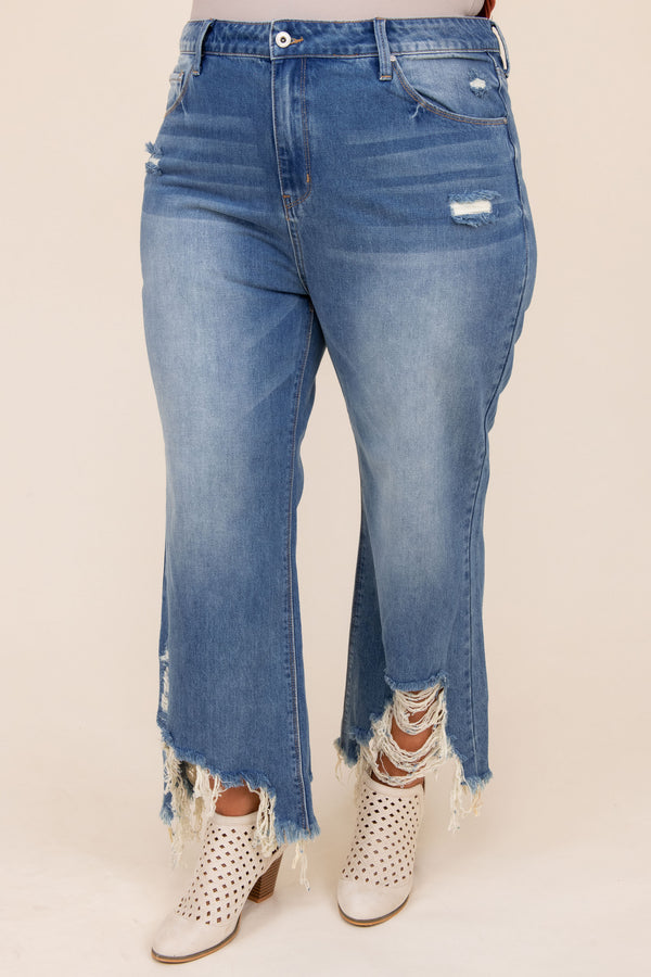 bottoms, jeans, blue, distressed, short, capri, ripped, wide leg