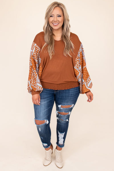 top, casual top, orange, floral, bubble sleeve, long sleeve, statement sleeve