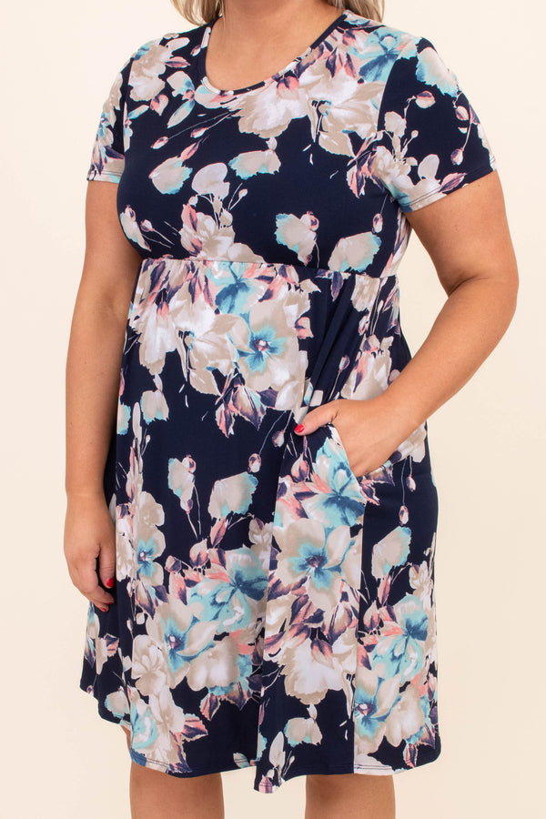 dress, short, short sleeve, babydoll, pockets, flowy, navy, floral, white, blue, pink, taupe, comfy