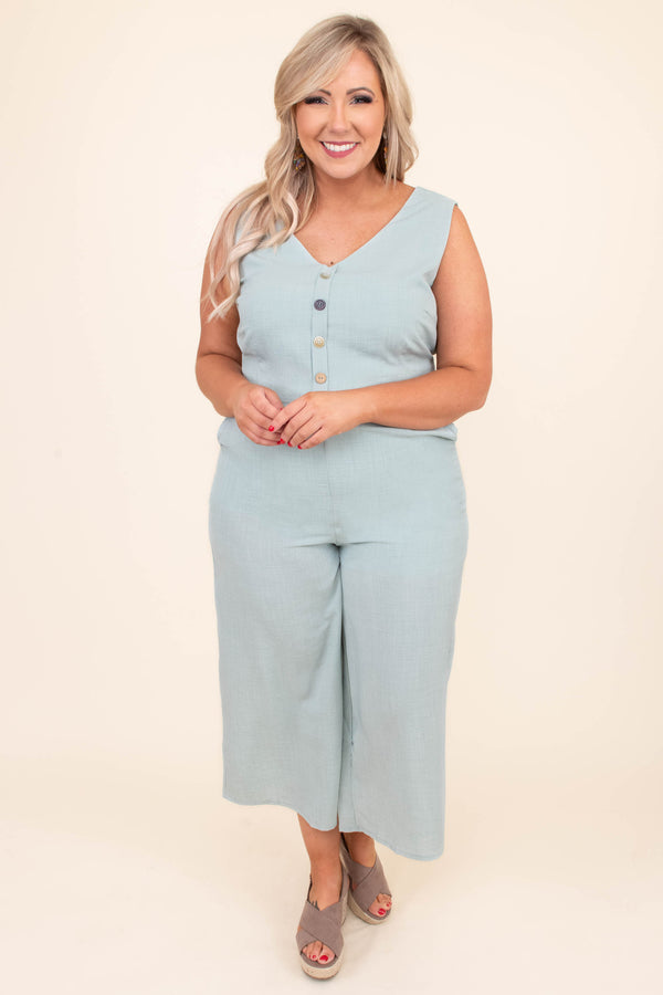 Take A Walk Jumpsuit, Light Mint