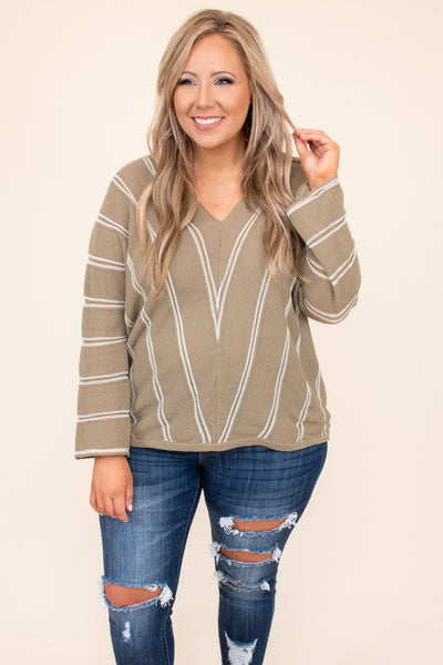 top, shirt, blouse, mocha, brown, chevron, long sleeve