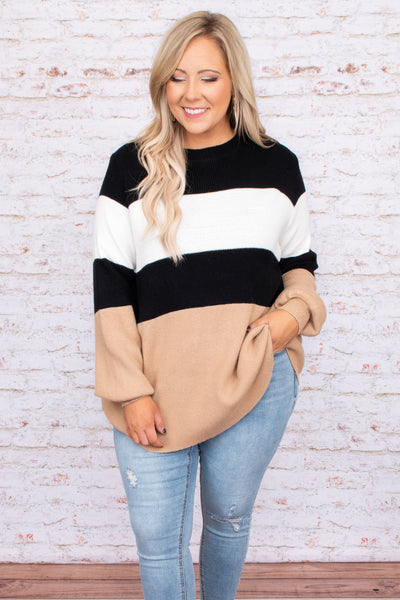 balloon sleeves, top, sweater, collorblock, stripes, neutral, black, white, taupe, figure flattering, oversized, long sleeve, round neck, comfy
