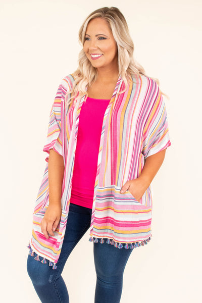kimono, short sleeve, pockets, tassels, pink, white, orange, blue, striped, long, thin, comfy, spring, summer