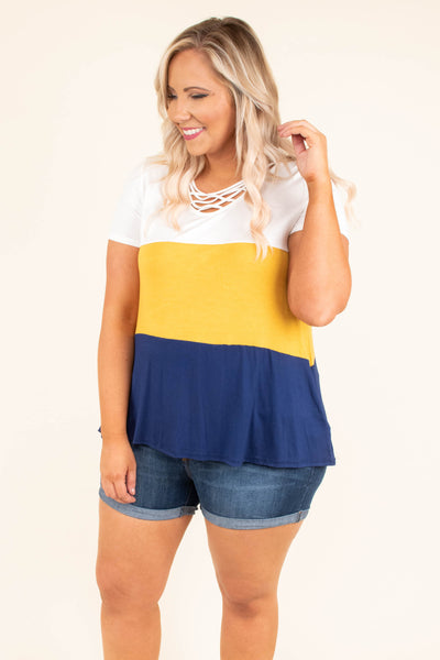 top, short sleeve, mustard, ivory, navy, color block, cage neckline