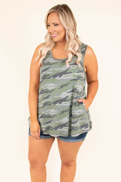 top, tank top, pockets, flowy, camo, olive, grey, summer
