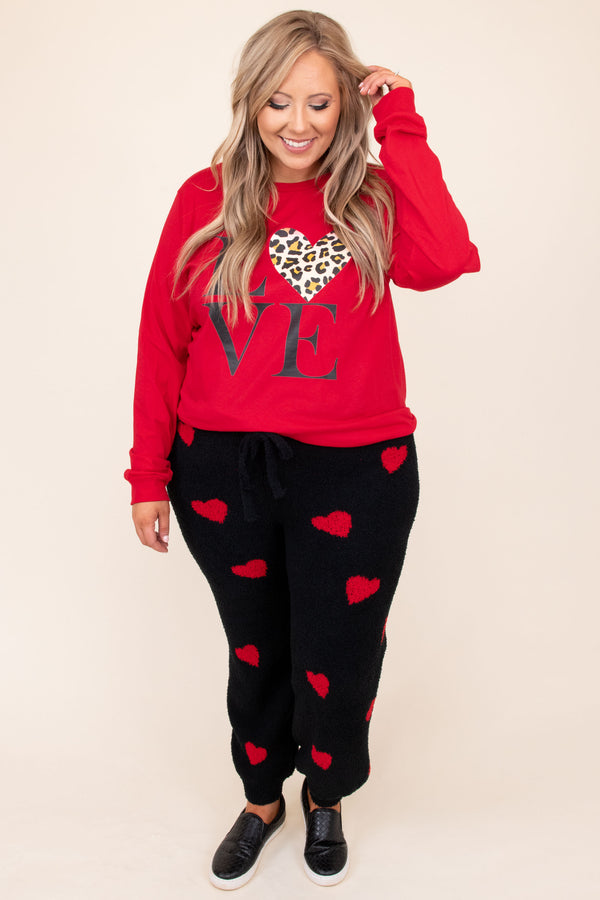 bottoms, lounge pants, black, graphic, hearts, red, jogger