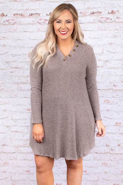 dress, long sleeve, pink, soft, ribbed, flattering