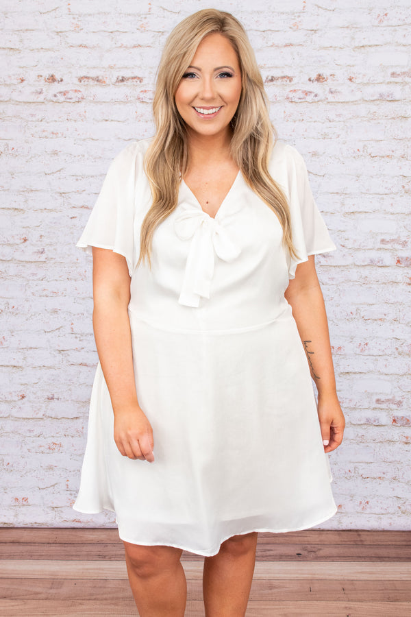 dress, casual dress, white, solid, short sleeve, bow, tie, flowy