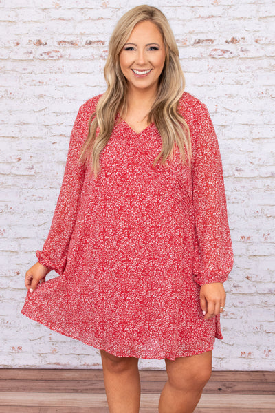 dress, casual dress, red, burgundy, floral, bubble sleeve, long sleeve