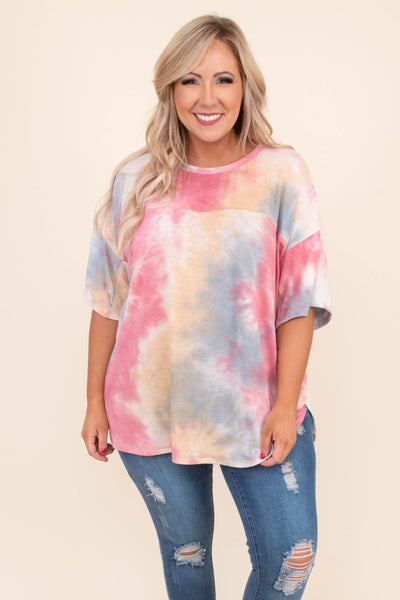 shirt, short sleeve, long, loose, tie dye, white, blue, pink, yellow, comfy