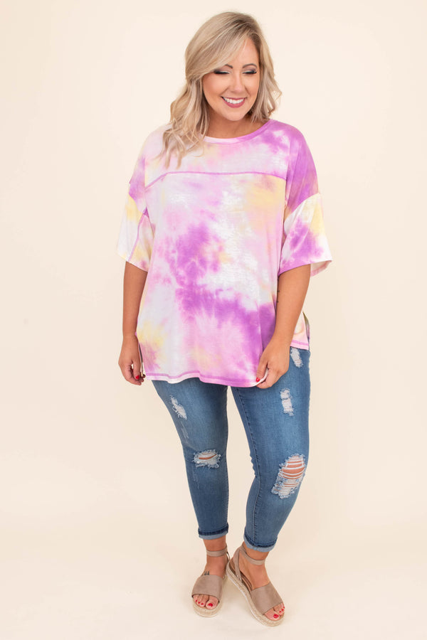 shirt, short sleeve, side slits, long, loose, purple, yellow, white, tie dye, comfy