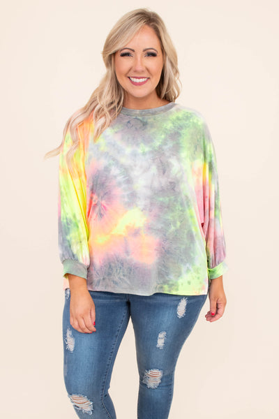shirt, long leeve, bubble sleeve, short, loose, tie dye, grey, pink, yellow, green, orange, comfy