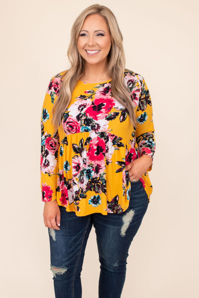 top, casual top, babydoll top, yellow, mustard, floral, long sleeve