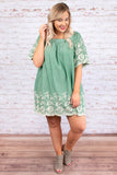 dress, short, short sleeve, bell sleeves, square neckline, scallop hems, green, embroidery, white, flowy, comfy, spring, summer