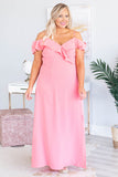 dress, maxi, short sleeve, off the shoulder, spaghetti straps, vneck, ruffle neckline, flowy, pink, comfy