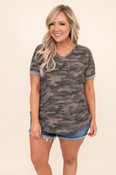 shirt, short sleeve, vneck, curved hem, long, gray cuffs, olive, camo, comfy