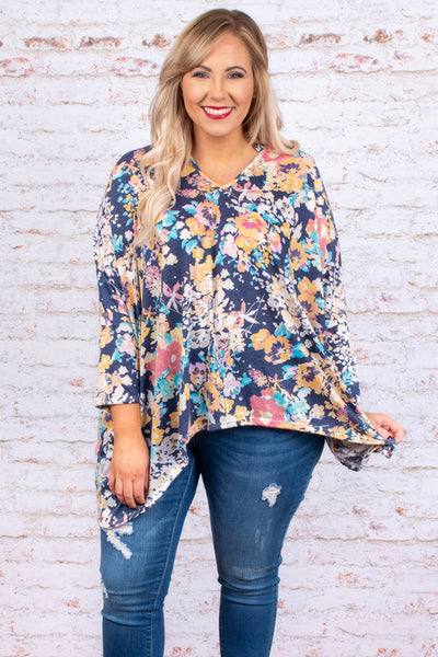 shirt, three quarter sleeve, asymmetrical hem, vneck, navy, orange, blue, purple, white, floral, flowy, comfy