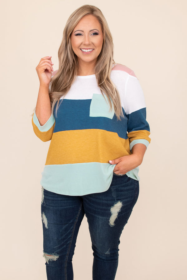 top, casual, colorblock, long sleeve, blue, navy, mustard, pocket