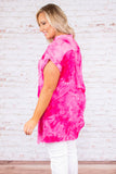 top, tunic, pink, tie dye, button down, pocket, tank top, collared