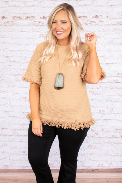 shirt, short sleeve, fringe hems, short, taupe, comfy