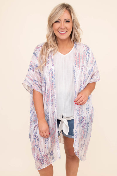 kimono, short sleeve, long, flowy, sheer, white, paisley, purple, mauve, comfy, outerwear, spring, summer