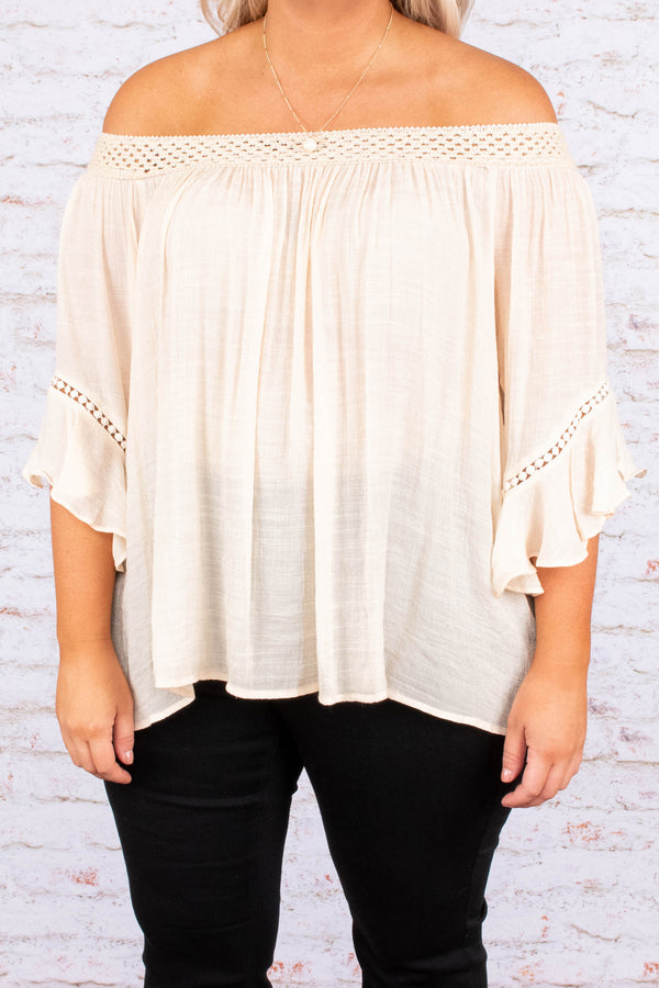 top, off the shoulder, cream, natural, three quarter sleeve, flowy, crochet trim