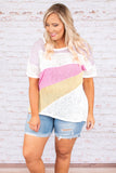 shirt, short sleeve, thin, white, mauve, pink, yellow, colorblock, comfy, spring, summer