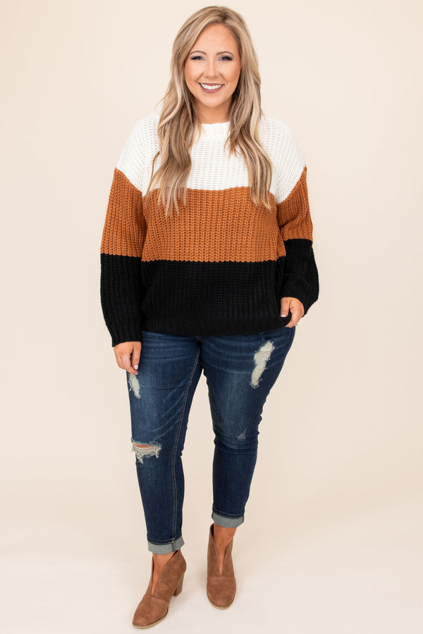 top, sweater, white, rust, black, colorblock, long sleeve, bubble sleeve, knit