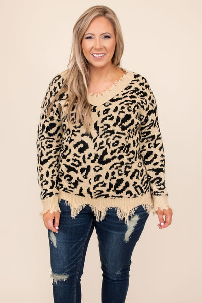 top, sweater. distressed, leopard, taupe, brown, long sleeve