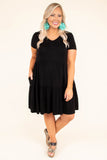 dress, short, short sleeve, vneck, babydoll, ruffles, flowy, black, comfy