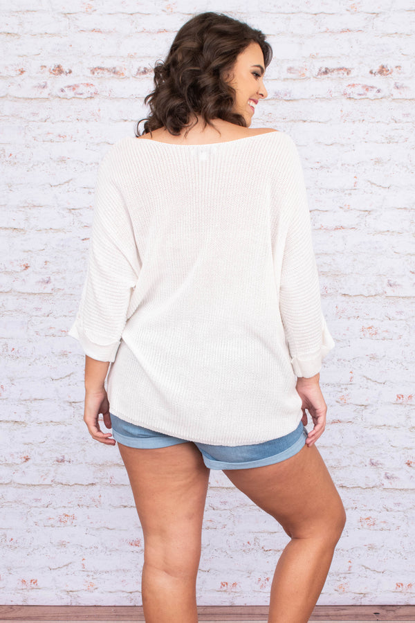 shirt, three quarter sleeve, wide sleeves, cuffed, wide neckline, chest pocket, loose, white, comfy