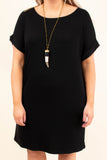 dress, black, short sleeve, short, comfy