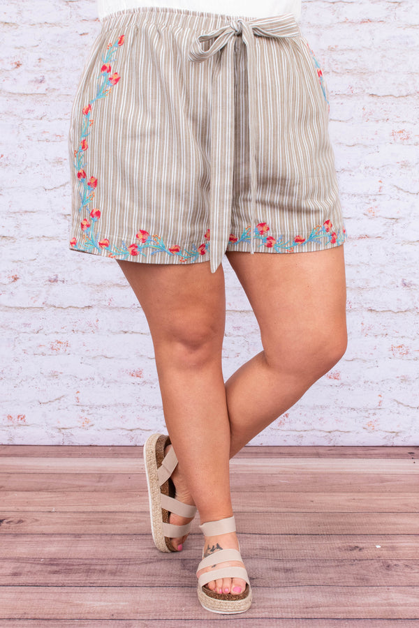 shorts, high waist, tied waistline, loose, pockets, khaki, white, striped, embroidered, red, pink, blue, comfy, spring, summer