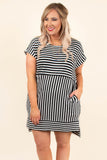dress, short, short sleeve, pockets, longer back, black, white, striped, comfy, structured