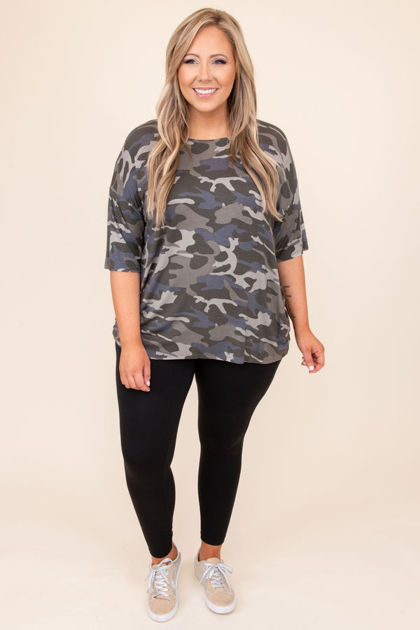 top, casual top, dusty grey, green, camoflauge, short sleeve