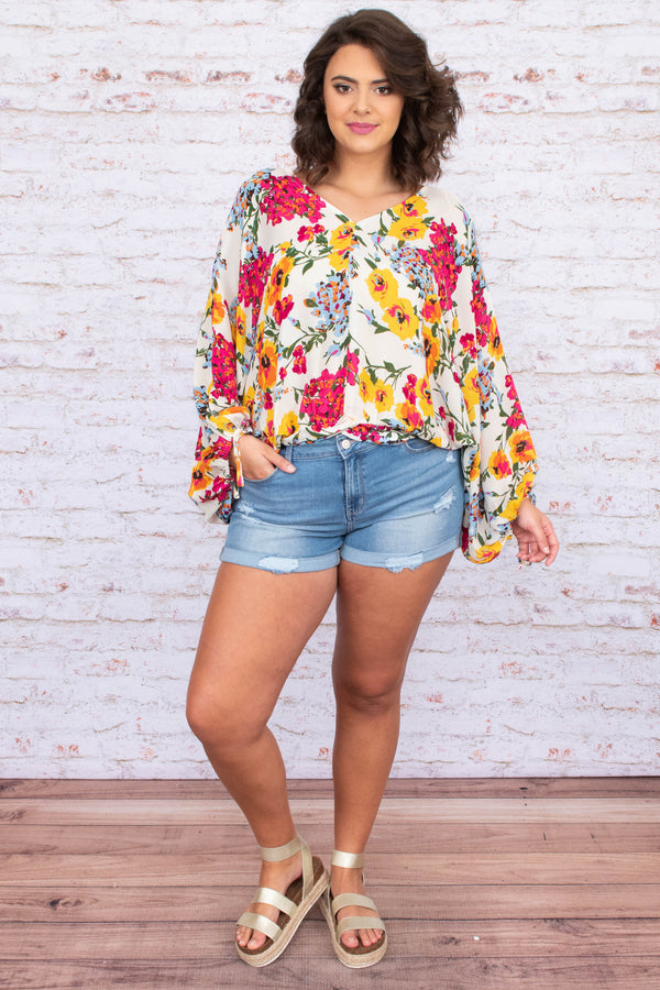 blouse, long sleeve, tie cuffs, vneck, short, loose, white, floral, yellow, blue, pink, green, comfy, bright